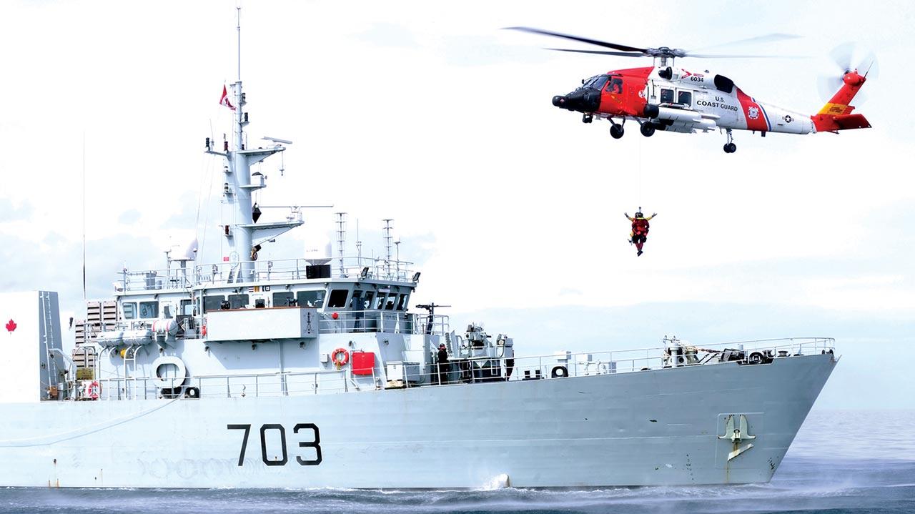 United States Coast Guard assisting to rescue a seized ship.