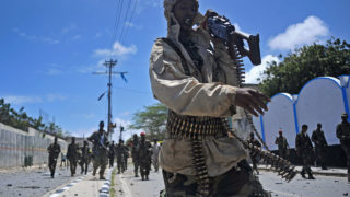Somali security forces patrol  / AFP PHOTO / Mohamed ABDIWAHAB