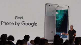 Google hardware team head Rick Osterloh introduces a new Pixel smartphone fielded in a direct challenge to Apple iPhone at a press event in San Francisco, California on October 4, 2016. / AFP PHOTO / Glenn CHAPMAN