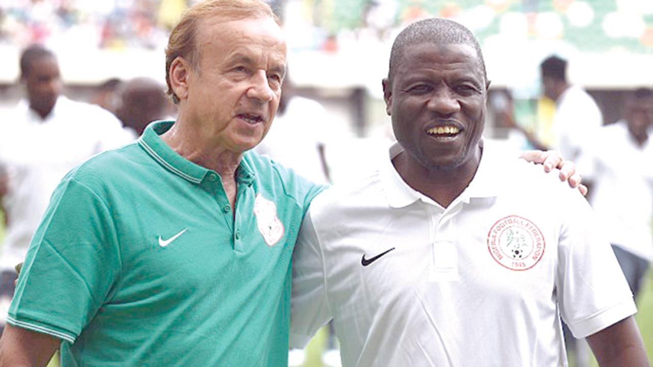 Super Eagles' Coach, Gernot Rohr (left), and his assistant, Salisu Yusuf, after Nigeria's 2-1 defeat of Zambia in Ndola…on Sunday.