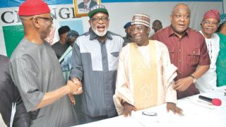 National Chairman of the All Progressives Congress (APC), John Odigie-Oyegun, Ondo State APC governorship candidate, Rotimi Akeredolu, Chairman of the party's National Campaign Council for the election, Simon Lalong, APC's National Organising Secretary, Osita Izunaso and National Vice Chairman (South-West), Pius Akinyelure, at the inauguration of the campaign council at the party's National Secretariat in Abuja…yesterday