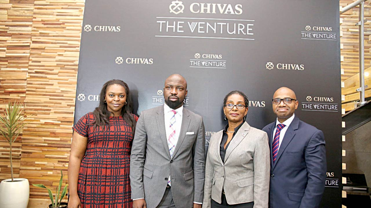 Lola Ashafa, Senior Brand Manager, Prestige at Pernod Ricard Nigeria(left), Audu Maikori, CEO, Chocolate City Group, Nneka Okekearu, Deputy Director, EDC - Enterpreneur Development Center and Bayo Rotimi, CEO at Quest