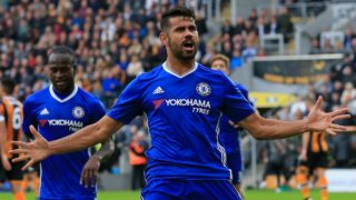Chelsea's Brazilian-born Spanish striker Diego Costa celebrates after scoring their second goal during the English Premier League football match between Hull City and Chelsea at the KCOM Stadium in Kingston upon Hull, north east England on October 1, 2016. PHOTO: Lindsey PARNABY / AFP