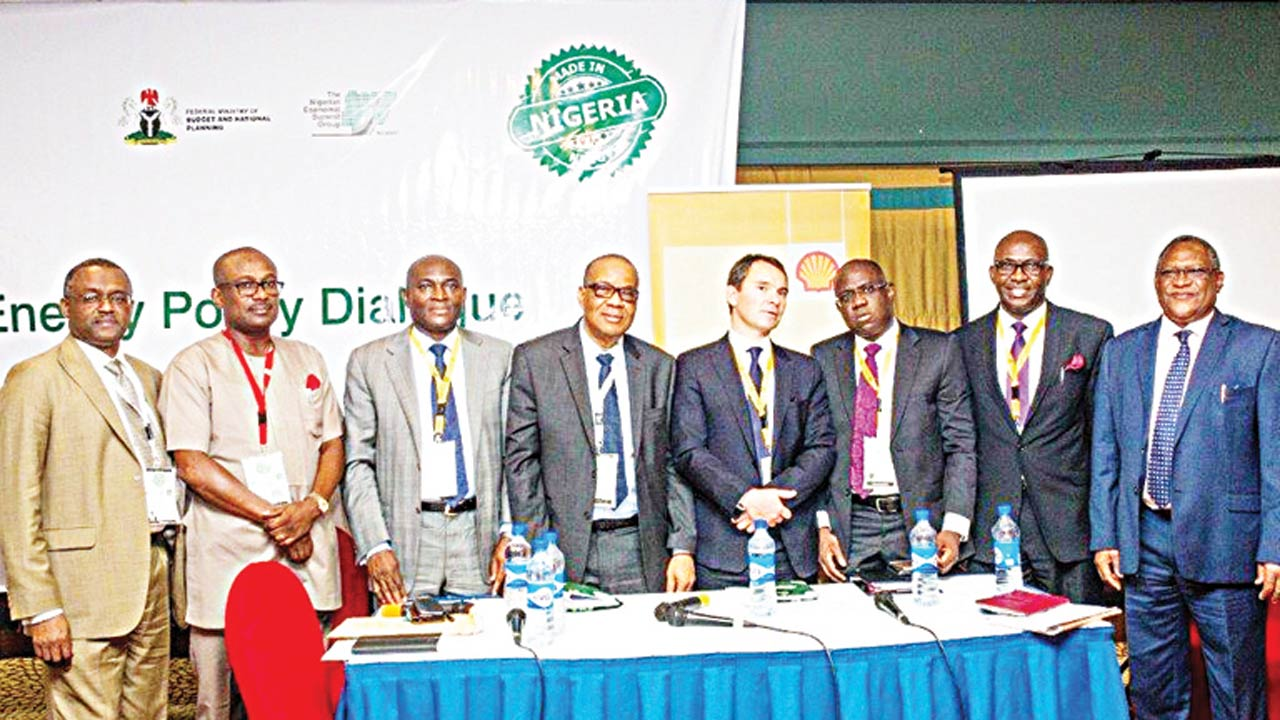 Deputy Managing Director, Nigerian Liquefied Natural Gas (NLNG), Sadeeq Mai Bornu (left); NCDMB Executive Secretary, Simbi Wabote; former Chairman of Dorman Long Engineering Ogbuefi Henry Okolo; Union Bank Chairman, Cyril Odu; MD/CEO, World LPG Association, James Rockall, Bayo Olanrewaju, Tony Attah and Alhaji Saidu Muhammad, during an economic summit in Abuja.