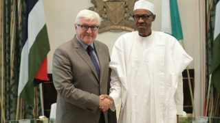 President Muhammadu Buhari while  receiving Germany's  Foreign Minister, Dr. Frank-Walters Steinmeier, at State House  Abuja.