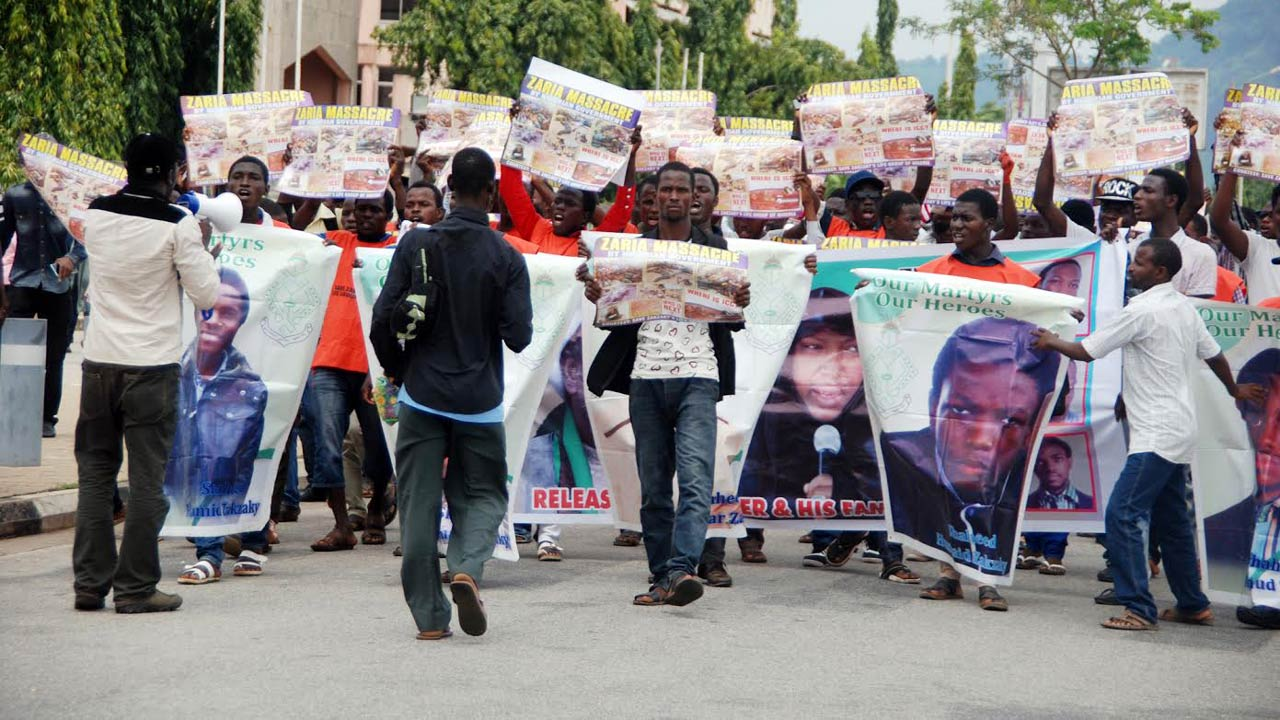 Members of Shite Movement, Protesting at the Federal Secretariat demanding for the release of their leader, El-zakzaky and justice done to the killer of their members in Abuja yesterday. PHOTO: LUCY LADIDI ELUKPO.