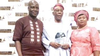 Acting Registrar, Adeniran Ogunsanya College of Education, Oto/Ijanikin, Lagos State, Shehu Abdulquadri Muhideen; Chairman, Governing Council of the college, Prof. Tunde Samuel and his wife, during the presentation of the African Education Personality Leadership Award to Samuel, by the African Institute for Leadership Excellence ... recently