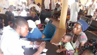 UNIBEN students sensitising members of their school community of the dangers of malaria.