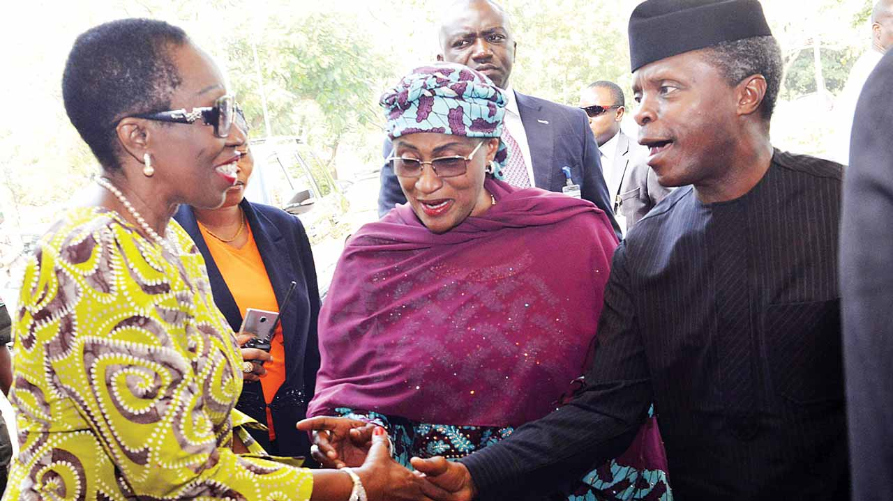 Vice President Yemi Osinbajo (right); Minister of Women Affairs and Social Development, Aisha Alhassan and the Permanent Secretary in the ministry, Phyllis Nwokedi during the launch of the campaign to end child marriage, in Abuja…yesterday.