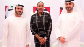Representative of Dubai Immigrations, Omran Alali (left), Regional Director, Africa for Dubai Tourism, Stella Obinwa and Manager, Exhibition, Dubai Tourism, Talal  Alsuwaidi at the Akwaaba Africa Travel Market in Lagos.
