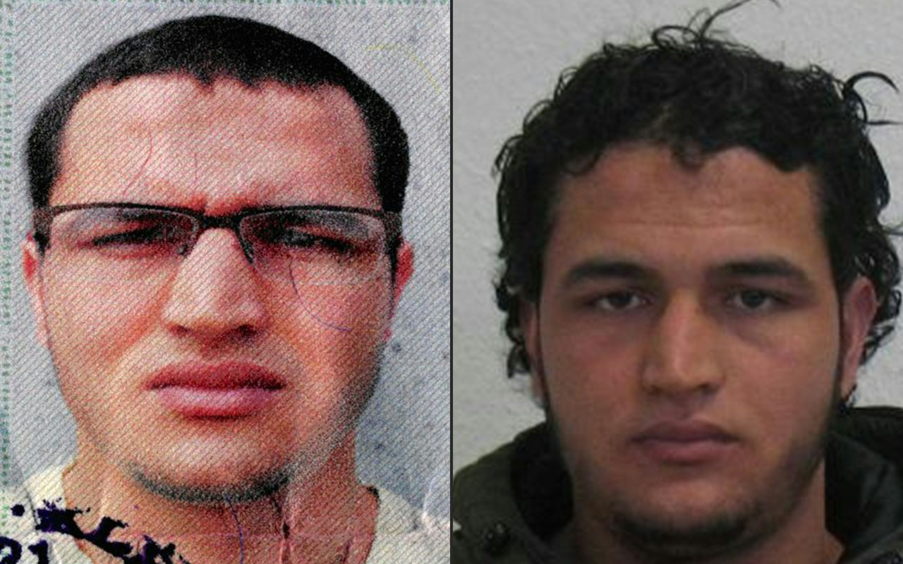 This combination of pictures created on December 21, 2016 shows a handout portrait released by German Federal Police Office (BKA) on December 21, 2016 showing two pictures of Tunisian man identified as Anis Amri, suspected of being involved in the Berlin Christmas market attack, that killed 12 people on December 19. / AFP PHOTO / BKA / HO /