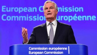 Michel Barnier, chief negotiator for the preparation and conduct of the negotiations with the United Kingdom under article 50 of the Treaty on European Union (TEU) gives a press conference at the European Commission on December 6, 2016, in Brussels.  EMMANUEL DUNAND / AFP