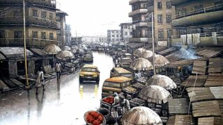 A painting, Sunday Morning, by Abiodun Badejo