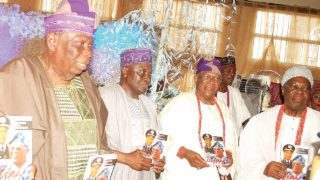 Book reviewer Chief Augustine Ayo (left); former Inspector-General of Police, Musiliu Smith; author and former Assistant Inspector-General of Police, Babafemi Osoba, and Osile of Oke Ona, Oba (Dr.) Adedapo Tejuoso at the 80th birthday and book presentation of Osoba at Ijebu Ode                              										                             PHOTO: AYODELE ADENIRAN