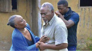 Taiwo Ajyi-Lycett and Olu Jacob on set of Olibori