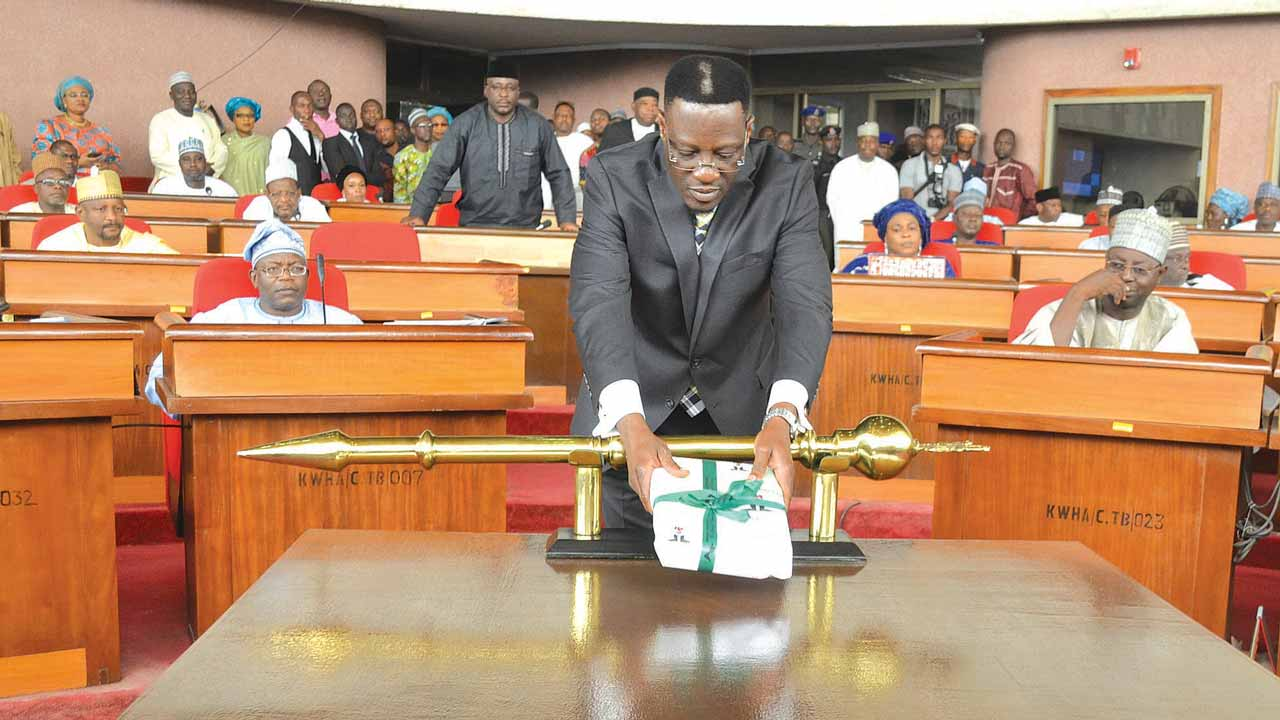 Dr. Abdulfatah Ahmed of Kwara State presenting the 2017 Appropriation Bill before the state Assembly in Ilorin.