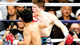 Ricky Hatton of England being punished by Manny Pacquiao of Philippine inside the ring in 2007.