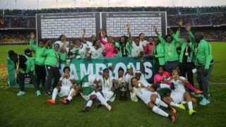 Super Falcons celebrate after beating Cameroon 1-0, at the final of African Women Cup of Nation, (AWCON) in Yaounde, Cameroon, yesterday. PHOTO: CAF