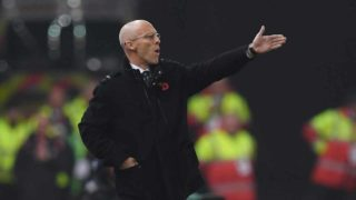 This file photo taken on October 31, 2016 shows Swansea City's US manager Bob Bradley reacting during the English Premier League football match between Stoke City and Swansea at the Bet365 Stadium in Stoke-on-Trent, central England. Premier League strugglers Swansea City dismissed coach Bob Bradley on December 27 after just 11 games in charge, the club announced on its website. American Bradley replaced Francesco Guidolin in October but the Swans have won just twice following his appointment and lie second from bottom in the table.  PAUL ELLIS / AFP