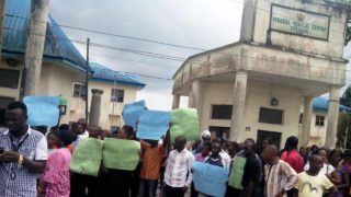 Striking Health Workers at Federal Medical centre, Yenagoa