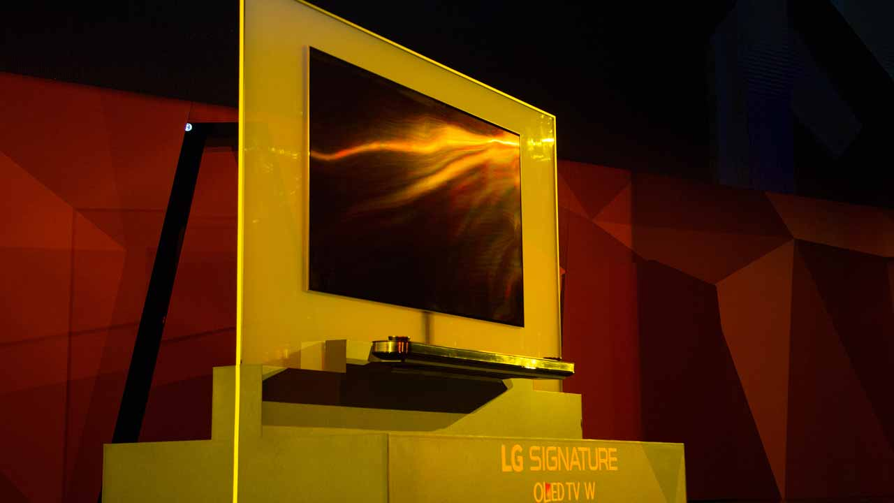 The LG Signature OLED TV W is presented at the LG press conference at the 2017 Consumer Electronics Show (CES) in Las Vegas, Nevada on January 4, 2017. DAVID MCNEW / AFP