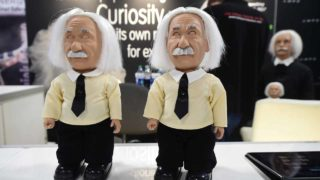 The soon to be released Albert Einstein Robot from Hanson Robotics is displayed at their booth on the showroom floor during the 2017 Consumer Electronic Show (CES) in Las Vegas, Nevada, January 5, 2017. PHOTO: Frederic J. BROWN / AFP