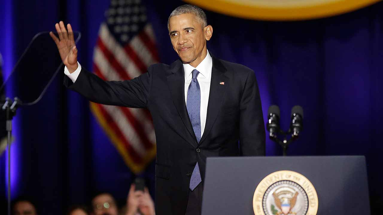US President Barack Obama gestures before speaking during his farewell address in Chicago, Illinois on January 10, 2017. Barack Obama closes the book on his presidency, with a farewell speech in Chicago that will try to lift supporters shaken by Donald Trump's shock election. PHOTO: Joshua LOTT / AFP