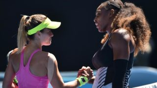 Serena Williams of the US (R) shakes hands with Nicole Gibbs of the US after winning their women's singles third round match on day six of the Australian Open tennis tournament in Melbourne on January 21, 2017. PHOTO: PETER PARKS / AFP