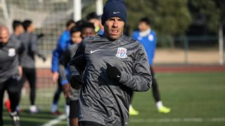 Argentine striker Carlos Tevez takes part in his first training session with his new club Shanghai Shenhua in Shanghai on January 21, 2017. PHOTO: STR / AFP