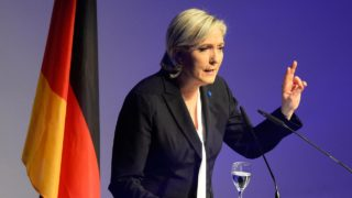 French National Front (FN) leader Marine Le Pen gives a speech to open a meeting on January 21, 2017 in Koblenz, western Germany. French presidential hopeful Marine Le Pen will lead the European gathering of right-wing populist parties in a show of strength ahead of crucial elections across the region this year. The congress will also feature Geert Wilders of the Dutch far-right Freedom Party, Frauke Petry of the anti-migrant Alternative for Germany (AfD) and Matteo Salvini of Italy's xenophobic Northern League. PHOTO: Roberto Pfeil / AFP