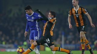 Chelsea's Brazilian-born Spanish striker Diego Costa (L) vies with Hull City's Norwegian defender Omar Elabdellaoui during the English Premier League football match between Chelsea and Hull City at Stamford Bridge in London on January 22, 2017. PHOTO: Daniel LEAL-OLIVAS / AFP