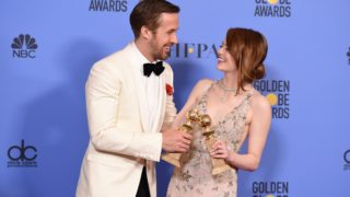 (FILES) This file photo taken on January 8, 2017 shows actors Ryan Gosling and Emma Stone, winners of the Best Performance by an Actor/Actress in a Motion Picture ? Comedy or Musical for 'La La Land'in the press room at the 74th Annual Golden Globe Awards held at the Beverly Hilton Hotel in Beverly Hills, California. Romantic musical 'La La Land' topped the list of Oscar nominations on Tuesday with 14 nods, including for best picture, actor, actress and director. / AFP PHOTO / ROBYN BECK