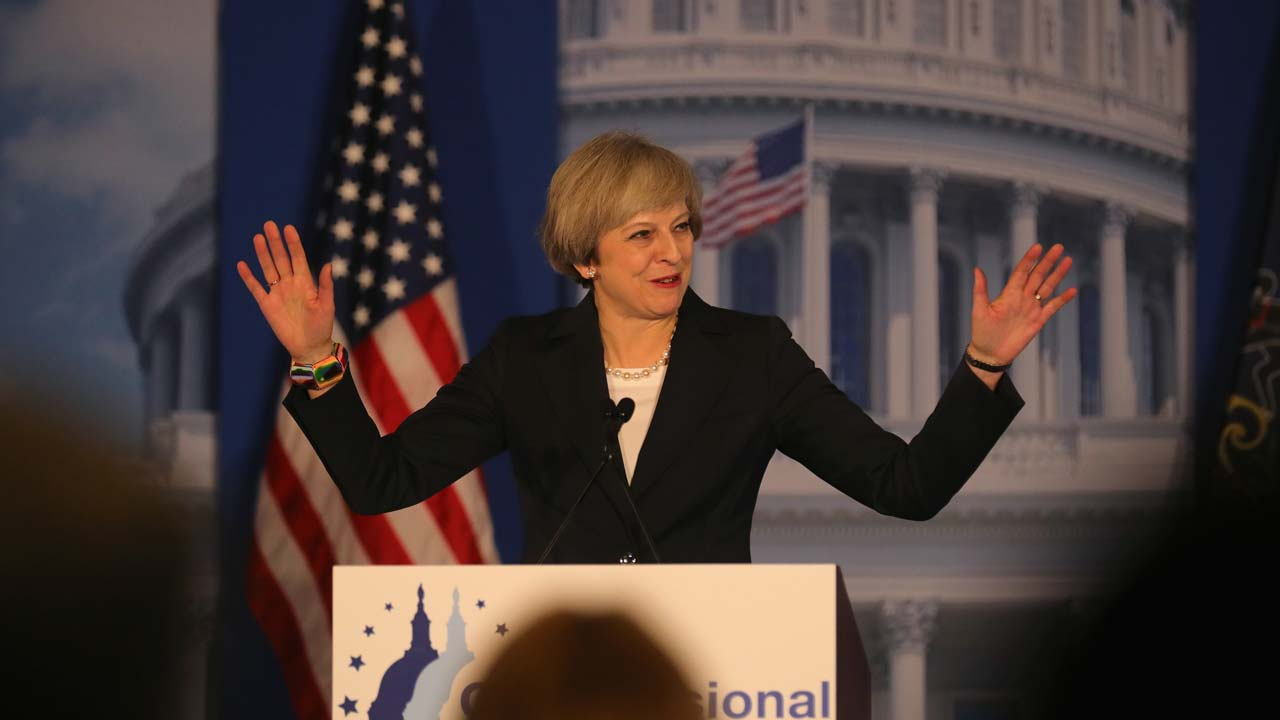 British Prime Minister Theresa May speaks at the Congress of Tomorrow Republican Member Retreat at Loews Philadelphia Hotel on January 26, 2017 in Philadelphia, Pennsylvania. British Prime Minister Theresa May is on a two-day visit to the United States and will be the first world leader to meet with President Donald Trump. PHOTO: Christopher Furlong/Getty Images/AFP