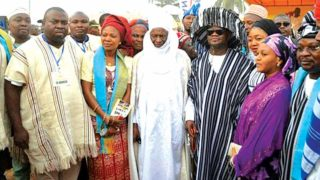 Governor Yahaya Adoza Bello of Kogi State (middle); HRM, Ohinoyi Ebiraland, Dr. Ado Ibrahim (second left) and others at the Dangote-sponsored Ebira Carnival in Kogi State.