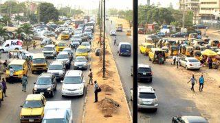 Traffic gridlock along Airport Road