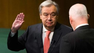 (FILES) This file photo taken on December 12, 2016 shows  Antonio Guterres (L) sworn in as UN secretary-general by the president of the General Assembly Peter Thomson December 12, 2016 at the United Nations in New York. Guterres assumes the reins of the United Nations on January 1, 2017, hoping to breathe new life into the world body, in the wake of its impotence over Syria's humanitarian catastrophe. The Portuguese former prime minister, 67, will become the first onetime head of government to lead the UN, succeeding South Korea's Ban Ki-moon for a five-year term.  Eduardo Munoz Alvarez / AFP