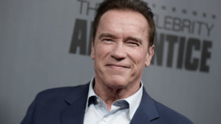 """(FILES) This file photo taken on December 9, 2016 shows Arnold Schwarzenegger as he attends """"The New Celebrity Apprentice"""" Q & A and Red Carpet Event At Universal Studio, Universal City, California. When Donald Trump hosted """"The Celebrity Apprentice,"""" he dismissed contestants with what became his indelible catchphrase: """"You're fired."""" Now that Trump is poised to take over the White House, there is a new boss on the reality show. And Arnold Schwarzenegger isn't just firing people anymore. """"You're Terminated!"""" the Hollywood star and former California governor said in Monday night's premiere of the show, now in its eighth season.   / AFP PHOTO / RICHARD SHOTWELL"""