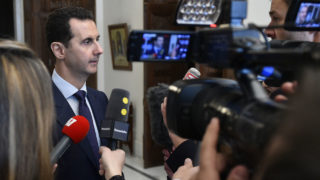 "Syrian President Bashar al-Assad  / AFP PHOTO / SANA / HO / RESTRICTED TO EDITORIAL USE - MANDATORY CREDIT ""AFP PHOTO / SANA"" - NO MARKETING - NO ADVERTISING CAMPAIGNS - DISTRIBUTED AS A SERVICE TO CLIENTS"