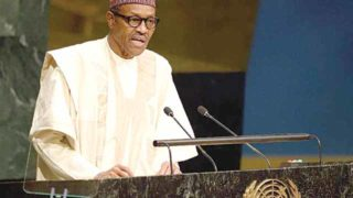 President  Buhari of Nigeria at the UN General Assembly                                   AFP PHOTO/DON EMMERT