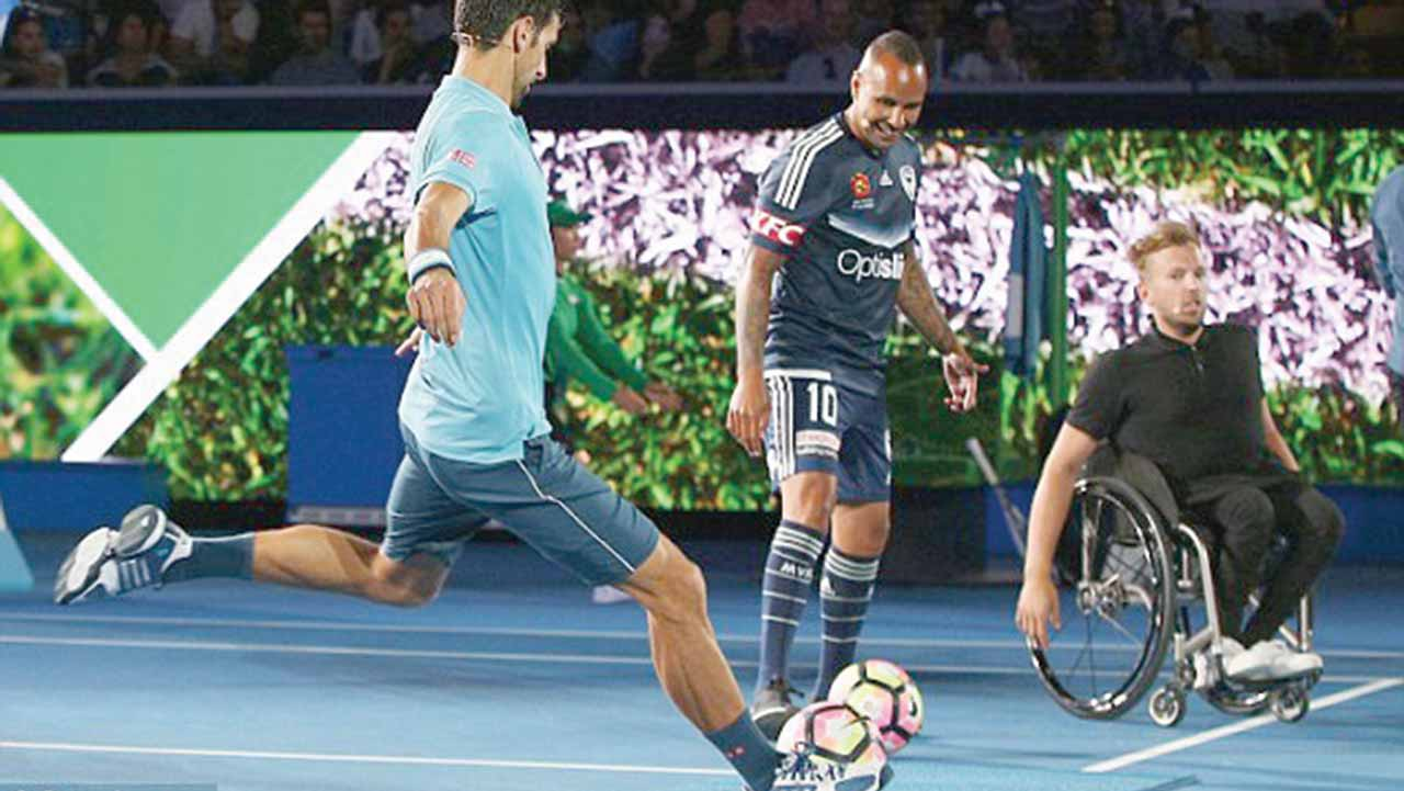 Tennis star, Novak Djokovic playing football as he hosts an event in Australia ahead of the Open
