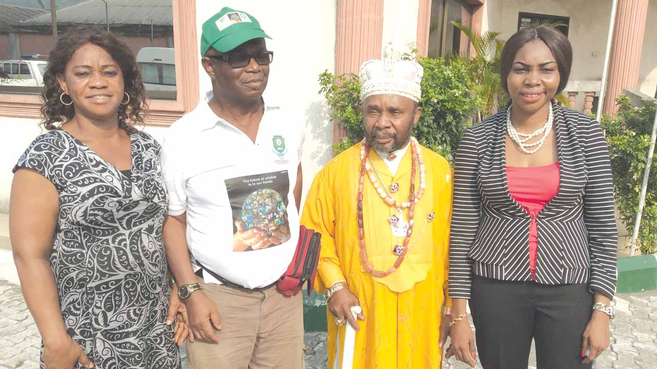 Official of the Niger Delta Biodiversity Project (NDBP),Philomena Iyamanbhor (left); NDBP National Coordinator, Dr. Mathew Dore; Paramount ruler, Alega Eleme in River State, HRH J.D. Nkpe and Country Director, Center for Development Support Initiatives, Dr. Mina Ogbanga, during a visit of the NDBP team to Alega Eleme, recently