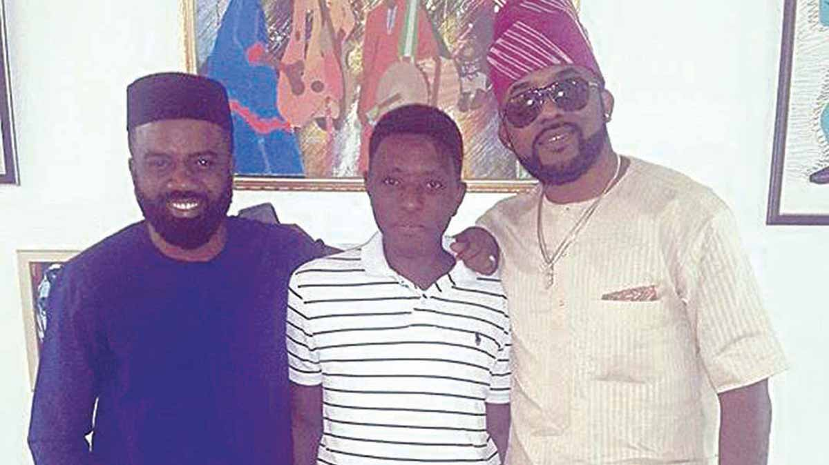 Founder and Chief Executive Officer, 360 Group, Noble Igwe (left); artist, Abidemi Demuren and Nigeria music star, Banky W at Demuren's first solo exhibition at Didi Museum… in Lagos