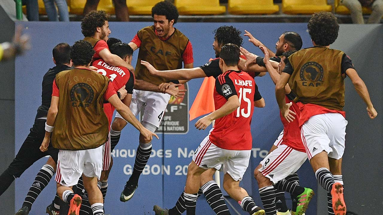 Egypt's players celebrate a goal during the 2017 Africa Cup of Nations quarter-final football match between Egypt and Morocco in Port-Gentil on January 29, 2017.  Justin TALLIS / AFP
