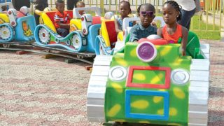 Children celebrating the New Year at the Apapa Amusement Park in Lagos…yesterday.   		                  PHOTO: GABRIEL IKHAHON