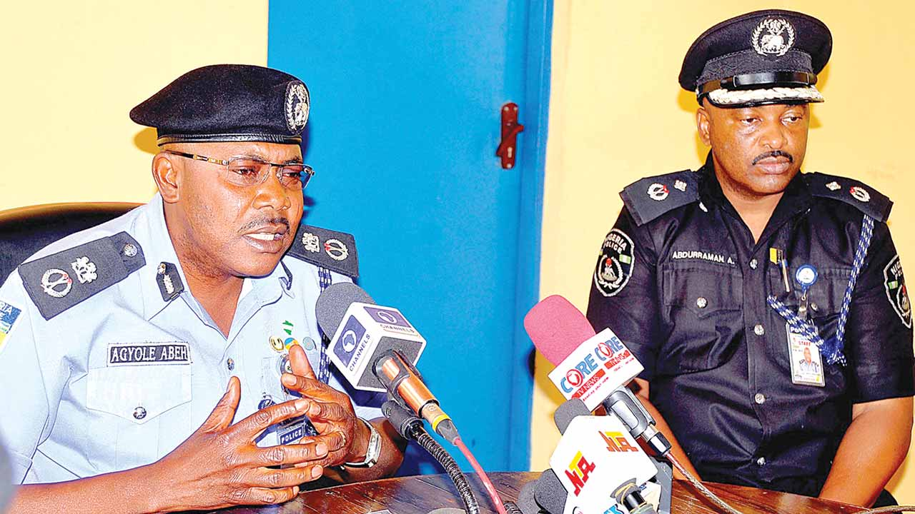 Commissioner of Police in Kaduna, Agyole Abeh (left) and his deputy, Alhaji Ahmed Abdulrahaman, during a news conference on the security  situation in the state …yesterday. PHOTO: NAN.