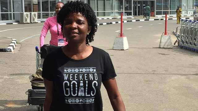 Coach Florence Omagbemi.. on her way from Cameroon after leading the Falcons to win their 8th title in December.