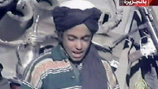 This file frame grab photo taken on November 7, 2001 shows Hamza, who appears to be the youngest son of  Saudi born Osama bin Laden, as he recites a poem extolling Kabul and Mullah Mohammad Omar, supreme leader of Afghanistan's Taliban rulers, in this frame grab taken from the Qatar based al-Jazeera satellite news channel. The United States added Hamza bin Laden, son and heir of the late global jihadist leader Osama bin Laden, to its terrorist blacklist on January 5, 2017. Hamza, who is now in his mid-twenties, has become active as an Al-Qaeda propagandist since his father's death at the hands of US special forces in 2011. According to letters found in the Navy SEAL raid on Osama's hideout in Pakistan, Hamza wrote to the Saudi-born Al-Qaeda leader asking to be trained to follow him / AFP PHOTO / AL-JAZEERA / Handout
