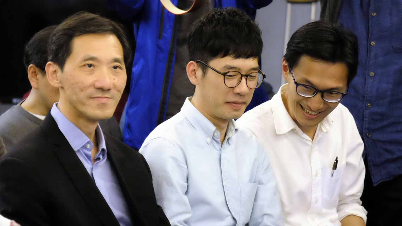 (L-R) Hong Kong politicians Edward Yiu, Nathan Law and Eddie Chu attend a political forum hosted by Taiwan's grassroot New Power Party (NPP) in Taipei on January 7, 2017. Hong Kong pro-democracy activist Joshua Wong along with activists-turned-legislators Nathan Law, Eddie Chu, and Edward Yiu are attending a political forum hosted by Taiwan's grassroot New Power Party (NPP) in Taipei.