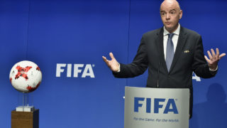 International Federation of Association Football (FIFA) President Gianni Infantino gestures while speaking during a press briefing closing a meeting of the FIFA executive council on January 10, 2017 at FIFA headquarters in Zurich.  FIFA's ruling council on January 10, 2017 unanimously approved an expansion of the World Cup from 32 to 48 teams in 2026.  / AFP PHOTO / Michael BUHOLZER