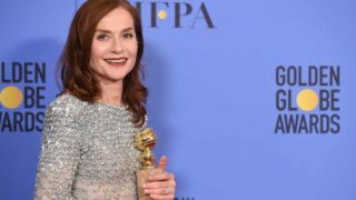 Actress Isabelle Huppert, winner of Best Actress in a Motion Picture - Drama for 'Elle,' poses in the press room during the 74th Annual Golden Globe Awards at The Beverly Hilton Hotel on January 8, 2017 in Beverly Hills, California.  ROBYN BECK / AFP